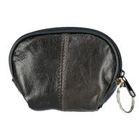 CTM® Leather Compact Zipper Coin Pouch Wallet - One size