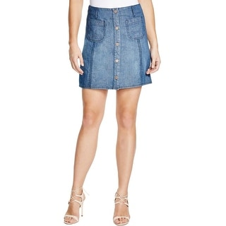 Sanctuary Womens Marianne Denim Skirt Marine Wash Snap Front