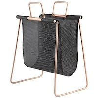 "Cyan Design Handle It Magazine Rack Handle It 19.25"" Tall Poly and Iron Magazine Rack - Black and Gold"