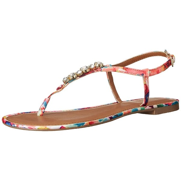 Wild Pair Womens Camino Open Toe Casual T-Strap Sandals - 6.5