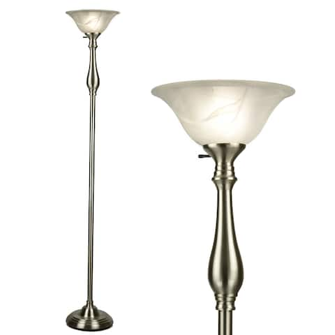 Floor Lamp for Living Room by Light Accents - Traditional Standing Pole Lamp with Dome Glass Shade (Brushed Nickel)
