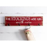 """Pack of 2 Red and White Stockings Sign Wall Decor with Hooks 31.5"""""""