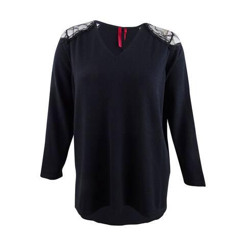 Love Scarlett Women's Plus Size Lace-Shoulder Sweater (2X, Black) - Black - 2X