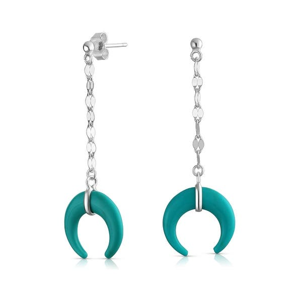 Dangling Silver and Turquoise Moon Dangle Earrings Celestial Bohemian Jewelry FREE SHIPPING