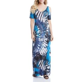 Karen Kane Womens Cold Maxi Dress Printed Cold Shoulder - s