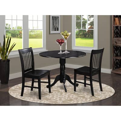 3-piece Dining Set Includes Kitchen Table Plus 2 Dinette Chairs - Black Finish