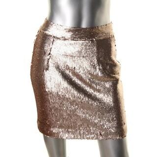Grace Womens Sequined Metallic A-Line Skirt - 4