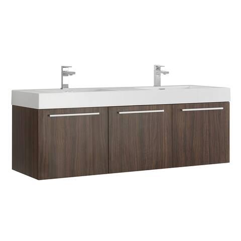 """Fresca Vista 60"""" Walnut Wall Hung Double Sink Modern Bathroom Cabinet"""