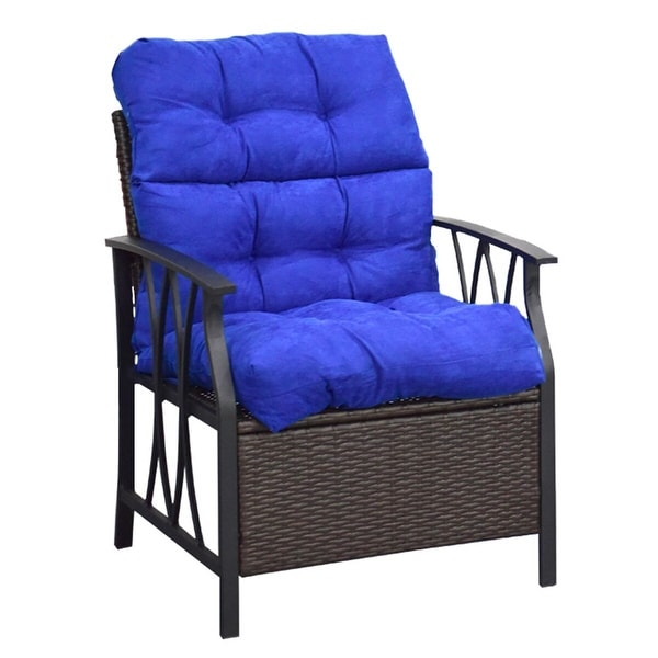 Shop Costway 44 High Back Chair Cushiontufted Pillow Indoor Outdoor Swing Glider Seat Blue