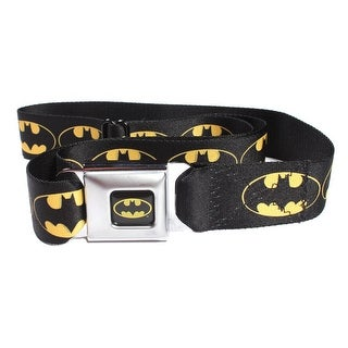 Batman Logo Black Seatbelt Belt - Holds Pants Up