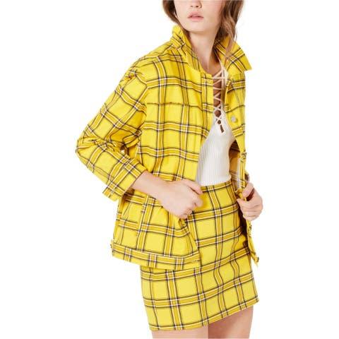 GUESS Womens Plaid Jacket, yellow, Large
