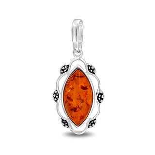 Bling Jewelry Synthetic Honey Amber Pendant Vintage Style Marquise .925 Silver - Orange