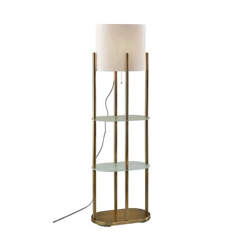 Adesso Norman Brushed Metal and Glass Shelf Floor Lamp