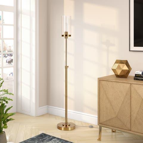 Frieda Blackend Bronze Floor Lamp Seeded Glass