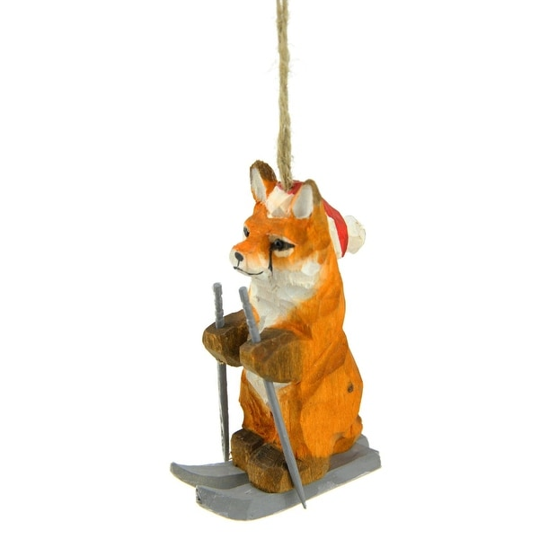 """3.5"""" Decorative Brown, Orange and Gray Wooden Fox Skiing Christmas Ornament"""