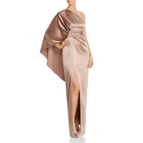 Aidan Mattox Womens Evening Dress Caped One Shoulder - Copper