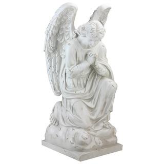 "23.5"" Distressed Ivory Kneeling Praying Angel Religious Outdoor Garden Statue"