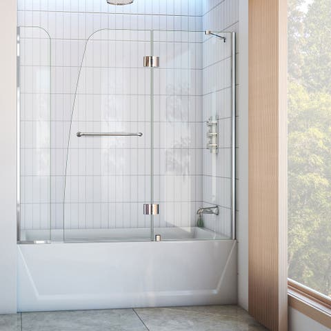 """DreamLine Aqua 56-60 in. W x 58 in. H Hinged Tub Door with Extender Panel - 56"""" - 60"""" W - 56"""" - 60"""" W"""