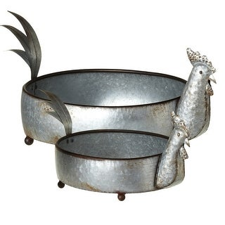 """Set of 2 Gray Distressed Finish Galvanized Decorative Rooster Planters 24"""" - N/A"""