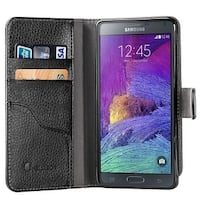 i-Blason-Samsung Galaxy Note 4 Case-Slim Leather Book Wallet Cover-Black