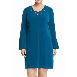 Link to Michael Kors Women's Dress Teal Blue Size 1X Plus Shift Lace-Up Similar Items in Dresses