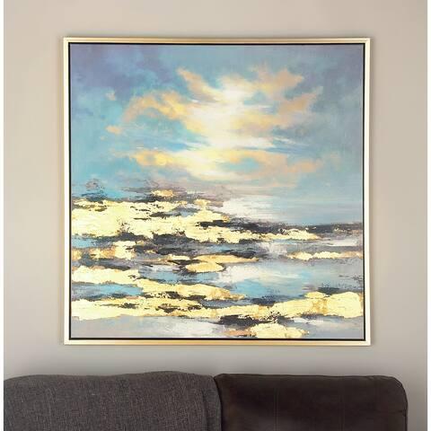 Blue Fir Contemporary Framed Wall Art Nature 39 x 39 x 1 - 39 x 1 x 39