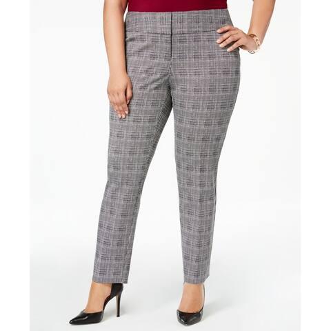 Alfani Womens Dress White Pants Gray Size 24W Plus Flat-Front Stretch