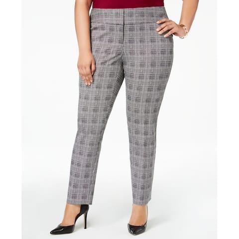 Alfani Womens Pants Gray Size 18W Plus Gwen Plaid Slim Leg Stretch