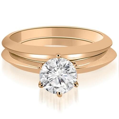 0.75 cttw. 14K Rose Gold Knife Edge Round Cut Solitaire Bridal Set