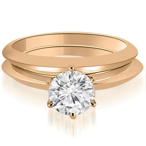 1.00 cttw. 14K Rose Gold Knife Edge Round Cut Solitaire Bridal Set
