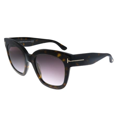 Tom Ford Beatrix-02 TF 613 52T Womens Havana Frame Rose Gradient Lens Sunglasses
