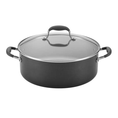 Anolon Advanced Pewter Hard-Anodized Nonstick 7.5-Quart Covered Wide Stockpot