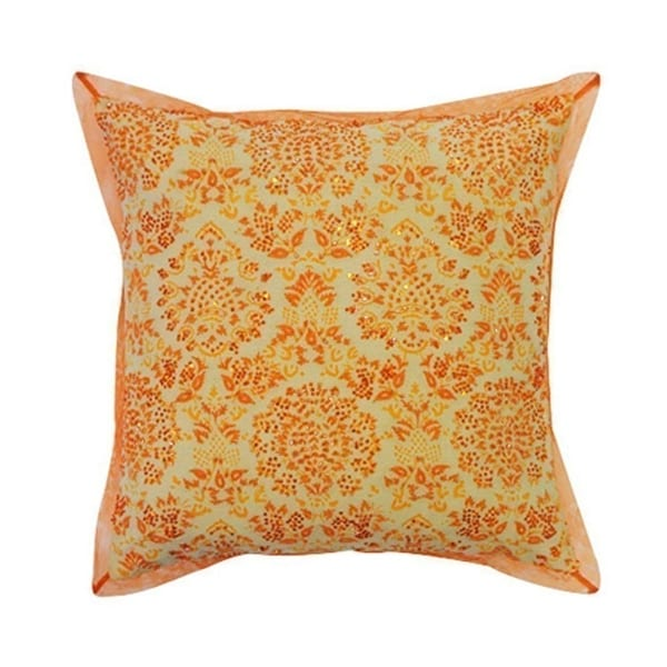 Vivai Home Peach Paisley Beaded Stamp Square 16x 16 Cotton Feather Pillow