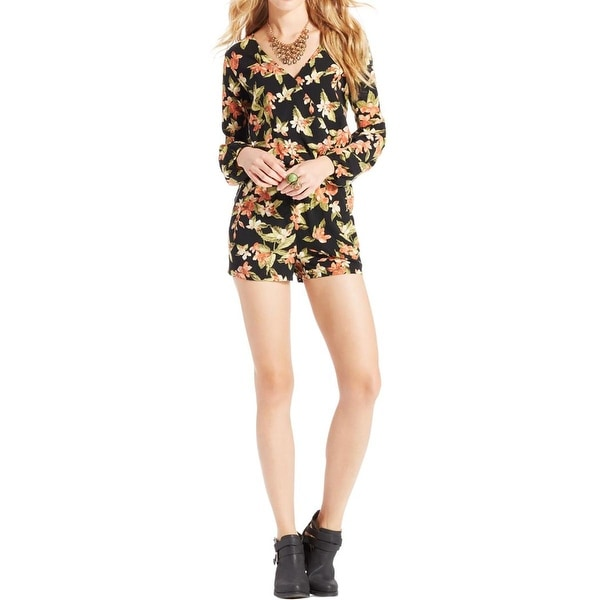 04409e36351e Shop One Clothing Womens Juniors Romper Floral Print Surplice - Free ...