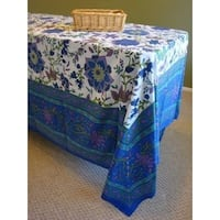 Handmade 100% Cotton Floral Print Tapestry Tablecloth Bedspread 60x88 Blues Twin Full