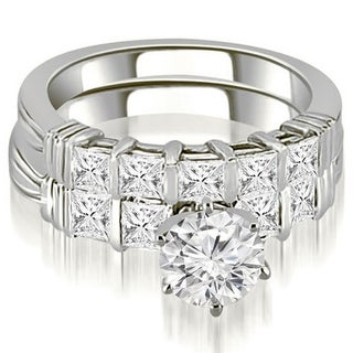 2 30 CT Bar Set Round Princess Cut Diamond Bridal Set In 14KT Gold White H I