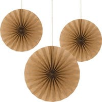 """Club Pack of 18 Brown Kraft Paper  Hanging Tissue Paper Fan Party Decorations 16"""""""