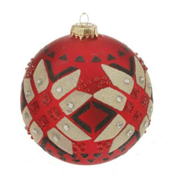 "Red Matte Jeweled Glittery Aztec Glass Ball Christmas Ornament 4"" (100mm)"