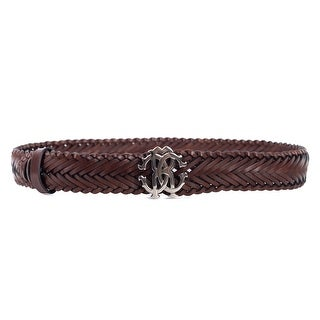 Roberto Cavalli Women's Brown Leather Woven Braided Logo Belt