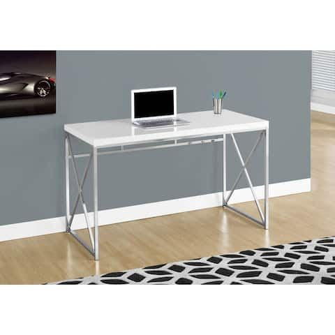 """Offex Contemporary Computer Desk - 48""""L - Glossy White, Chrome Metal"""