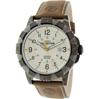 Timex Men's Expedition T49990 Brown Leather Analog Quartz Fashion Watch