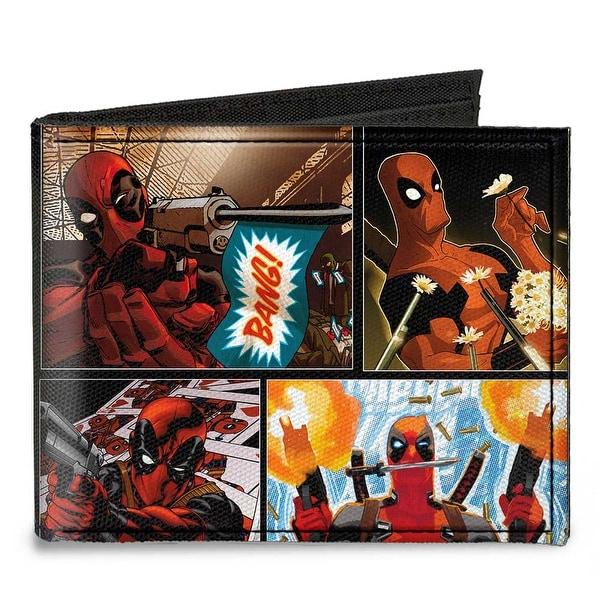 Marvel Universe Deadpool 10 Comic Scene Blocks Canvas Bi Fold Wallet One Size - One Size Fits most