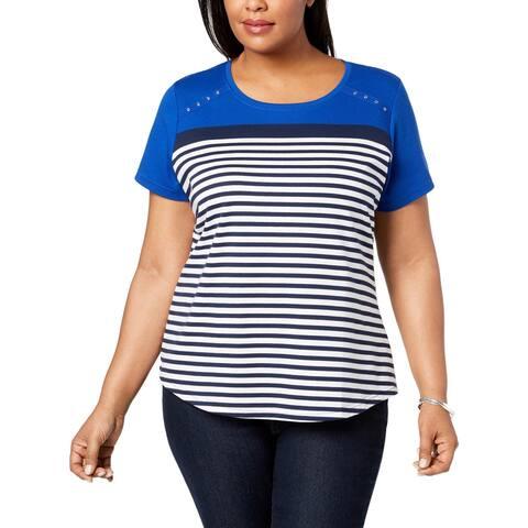 Karen Scott Womens Plus T-Shirt Embellished Striped
