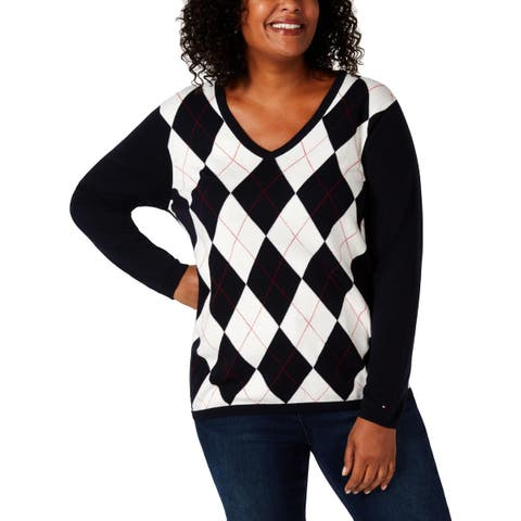 Tommy Hilfiger Womens Plus Pullover Sweater Printed Ribbed Trim