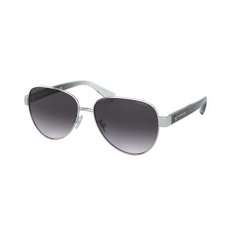 Coach HC7111 90018G 57 Shiny Silver Woman Pilot Sunglasses