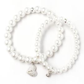 Julieta Jewelry Mom & Daughter Sterling Silver Heart Charm Pearl Bracelet Set