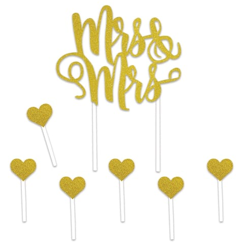 Set of 12 Gold Mrs & Mrs Cake Topper and Hearts 8.5