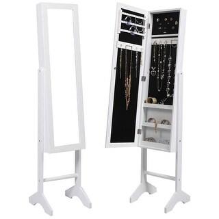 Costway Mirrored Jewelry Cabinet Mirror Organizer Armoire Storage Box Ring W/stand (White)
