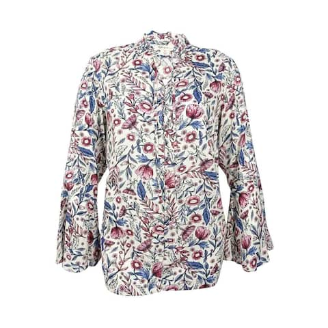 Style & Co. Women's Plus Size Printed Bell-Sleeve Blouse - Olivia Bouquet Multi