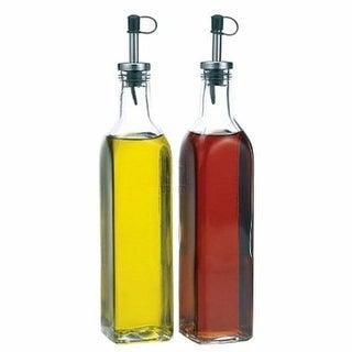Palais Glassware Oil & Vinegar 16 Oz Clear Glass Dispenser Cruet Bottle, with Silver and Black Spout Set of 2.